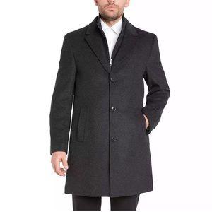Kirkland Men XL Wool Cashmere Bib Button Overcoat
